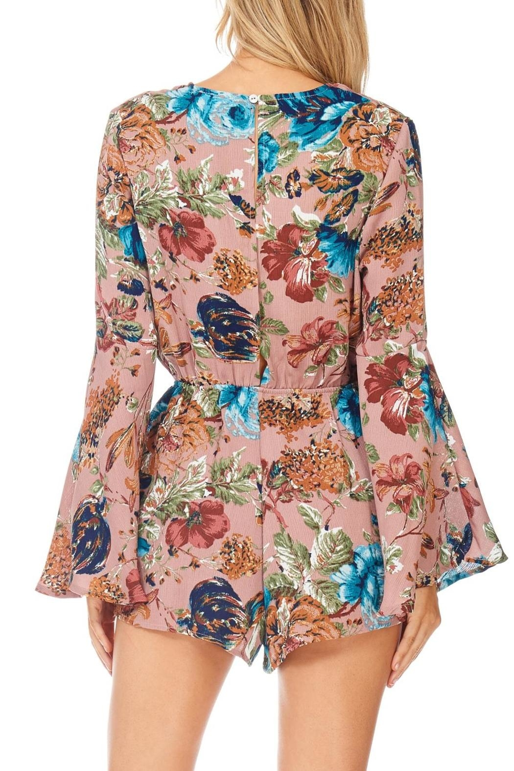 She + Sky Rose Floral Romper - Back Cropped Image