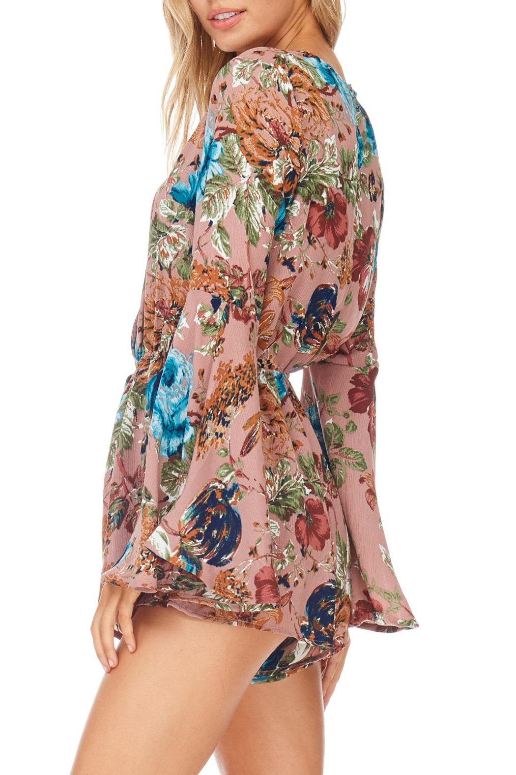 She + Sky Rose Floral Romper - Side Cropped Image