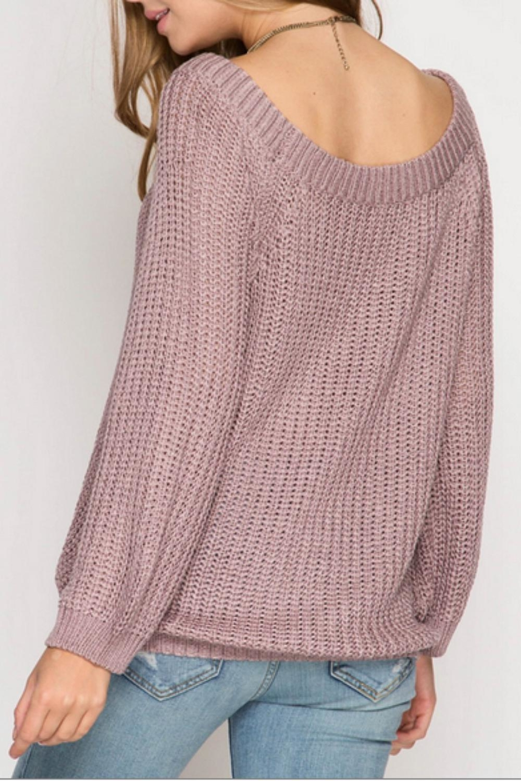 She + Sky Rose Knit Sweater - Front Full Image