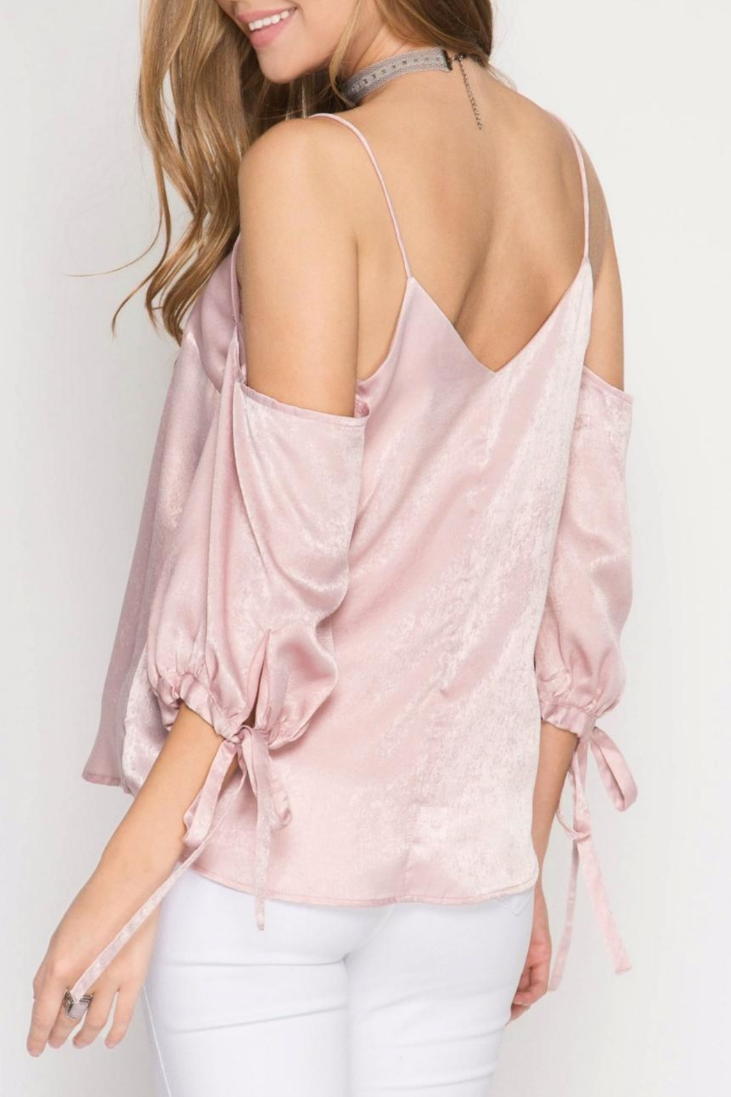 She + Sky Rose Satin Camisole - Front Full Image