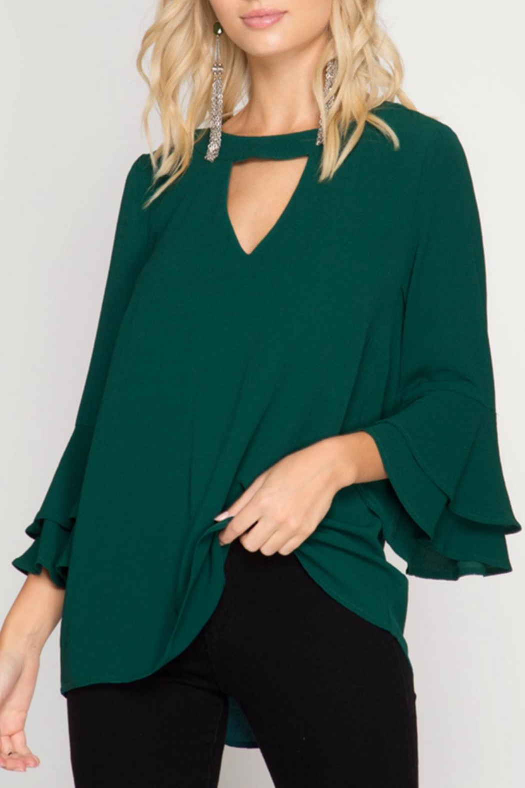 She + Sky Ruffle Blouse - Front Cropped Image