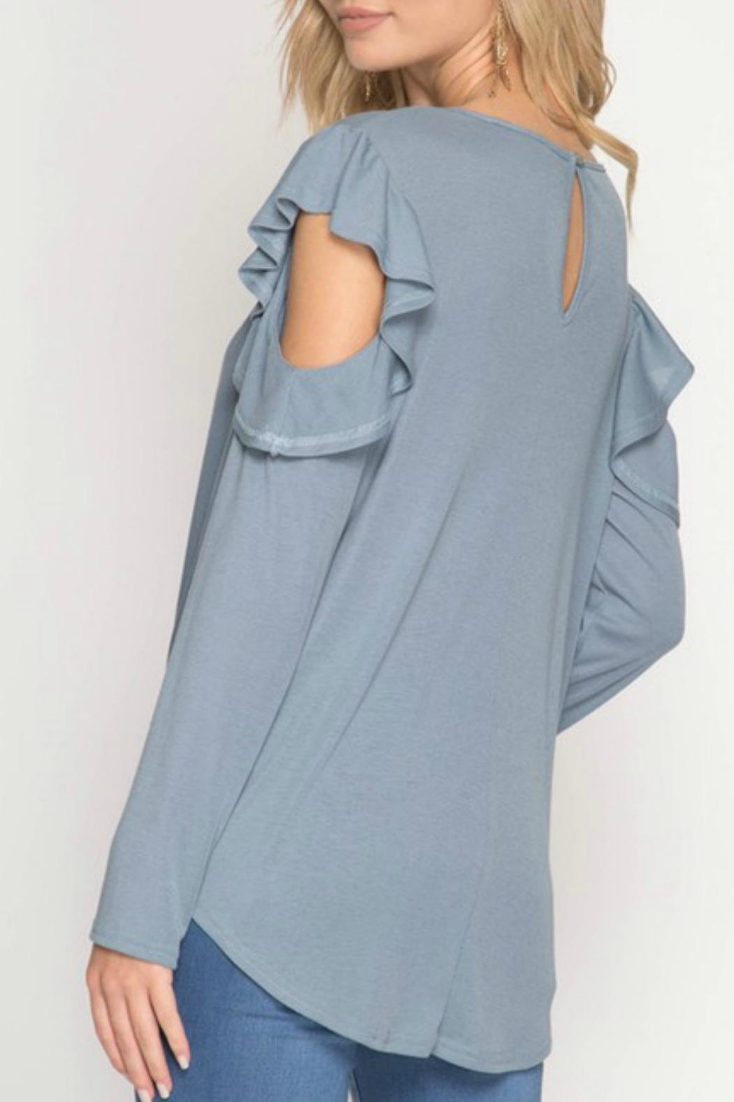 She + Sky Ruffle Cold-Shoulder Top - Back Cropped Image