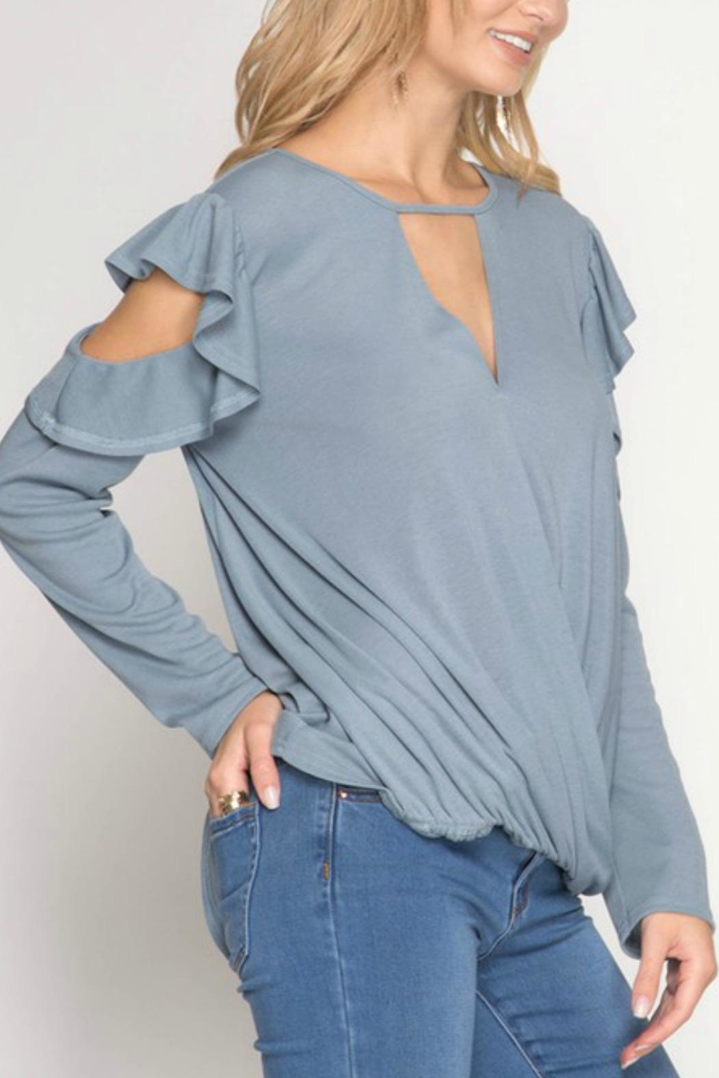 She + Sky Ruffle Cold-Shoulder Top - Side Cropped Image