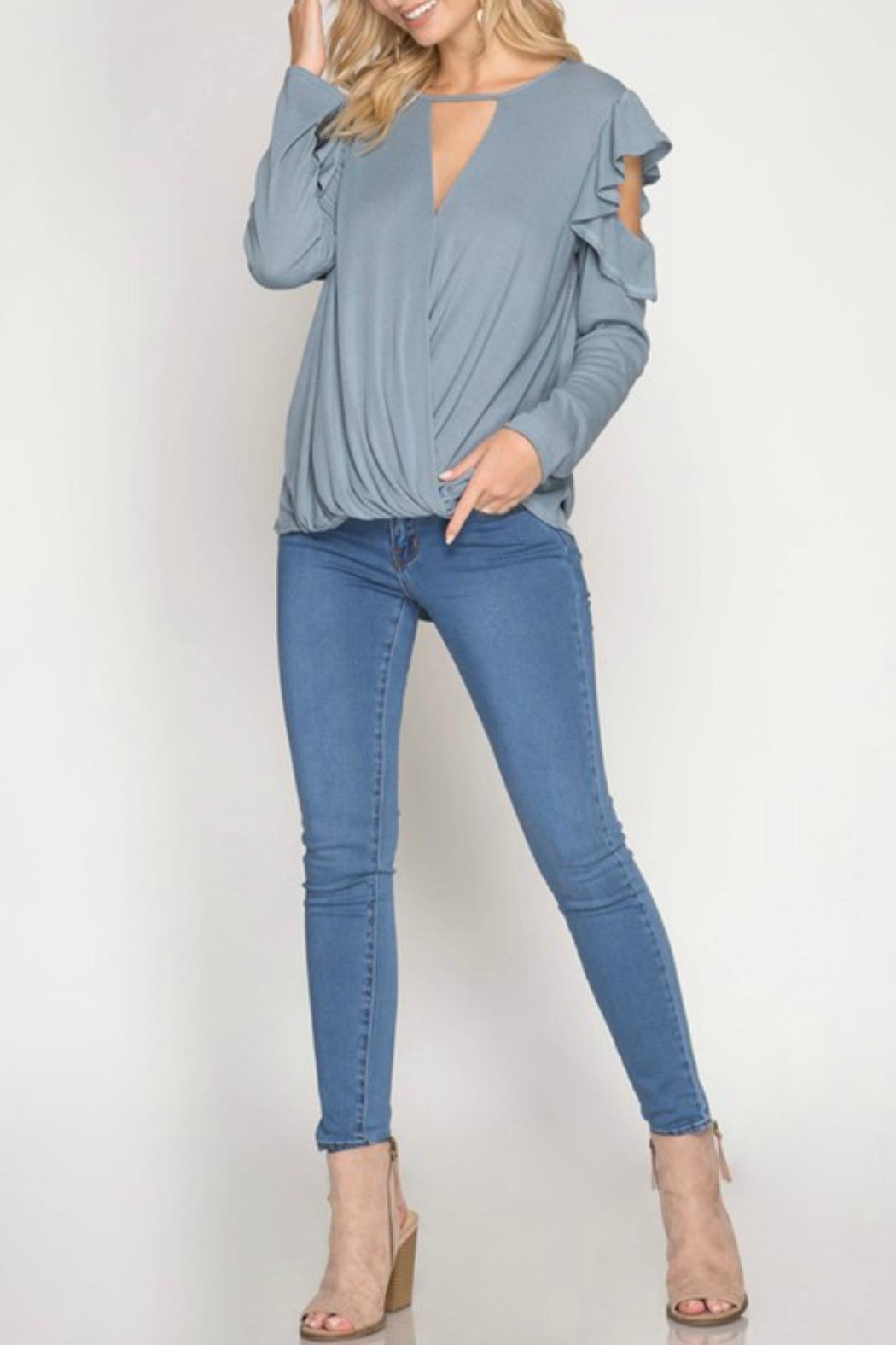 She + Sky Ruffle Cold-Shoulder Top - Front Full Image