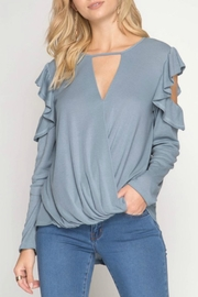 She + Sky Ruffle Cold-Shoulder Top - Product Mini Image