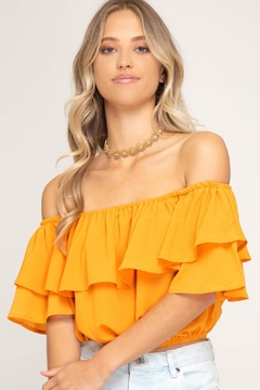 She + Sky Ruffle Crop Top - Product List Image