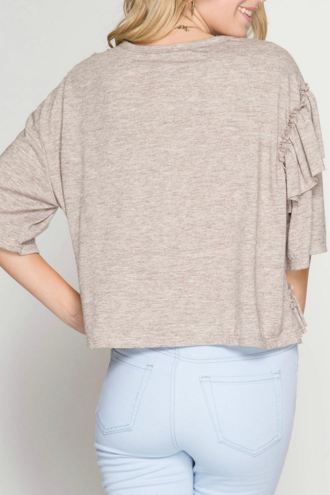 She + Sky Ruffle Detail Top - Front Full Image