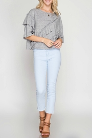 She + Sky Ruffle Detail Top - Front full body
