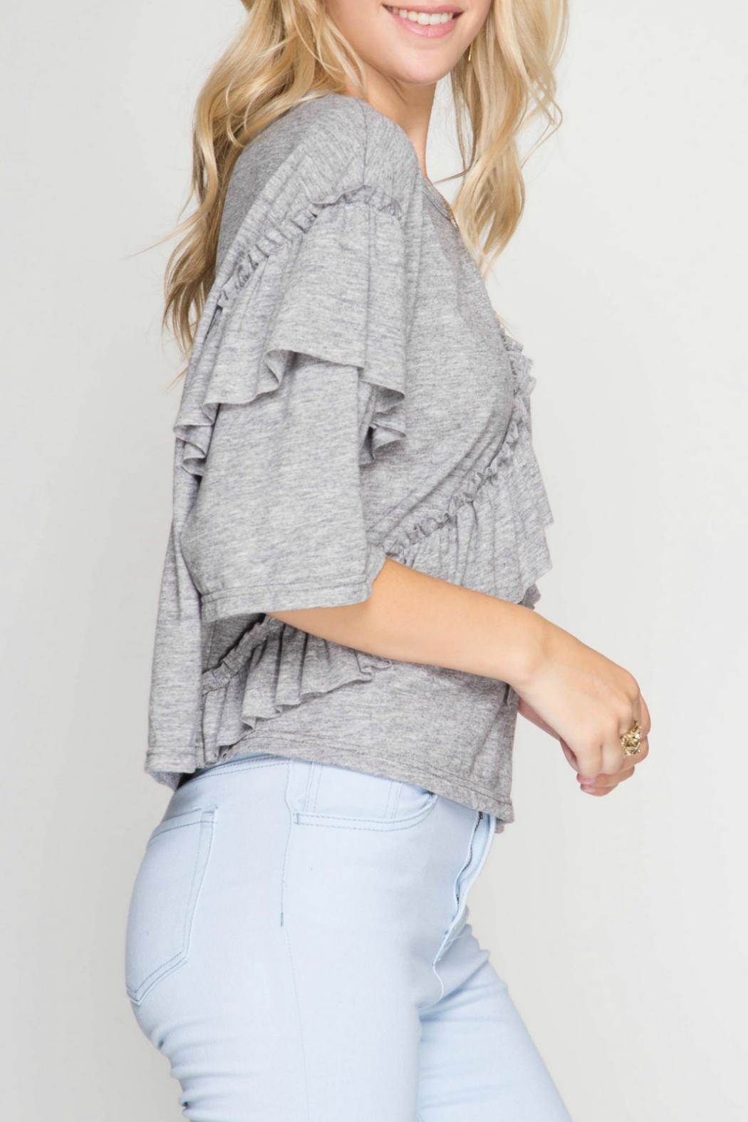 She + Sky Ruffle Detail Top - Side Cropped Image
