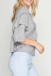 She + Sky Ruffle Detail Top - Side cropped