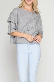 She + Sky Ruffle Detail Top - Front cropped