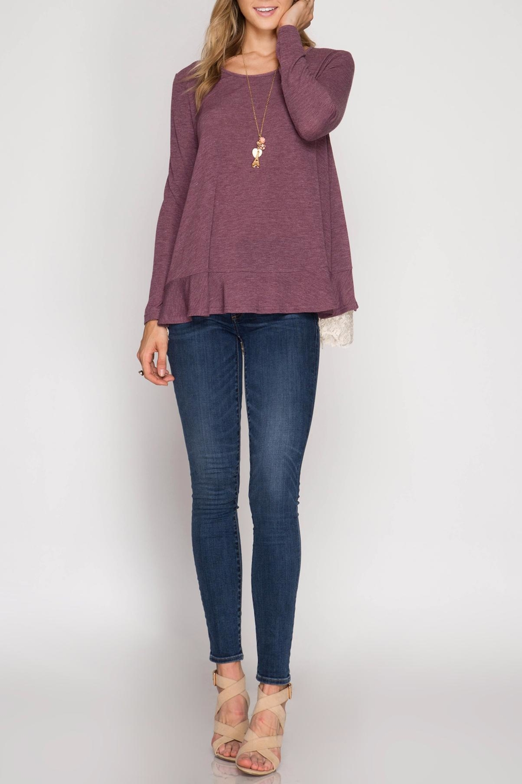 She + Sky Ruffle Lace Sweater - Front Full Image