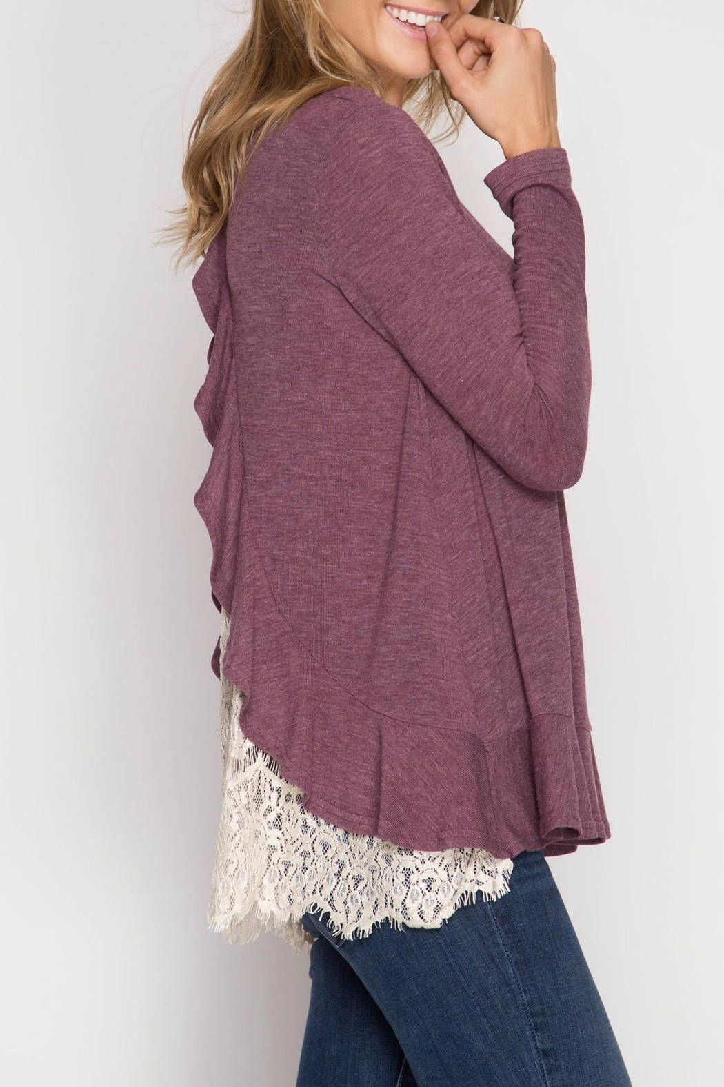 She + Sky Ruffle Lace Sweater - Back Cropped Image