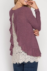She + Sky Ruffle Lace Sweater - Front cropped
