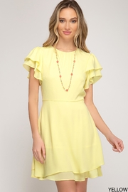 She + Sky Ruffle Shoulder Mini Dress - Product Mini Image