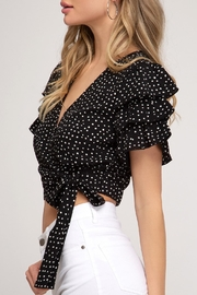 She + Sky Ruffle Sleeve Crop-Top - Front cropped