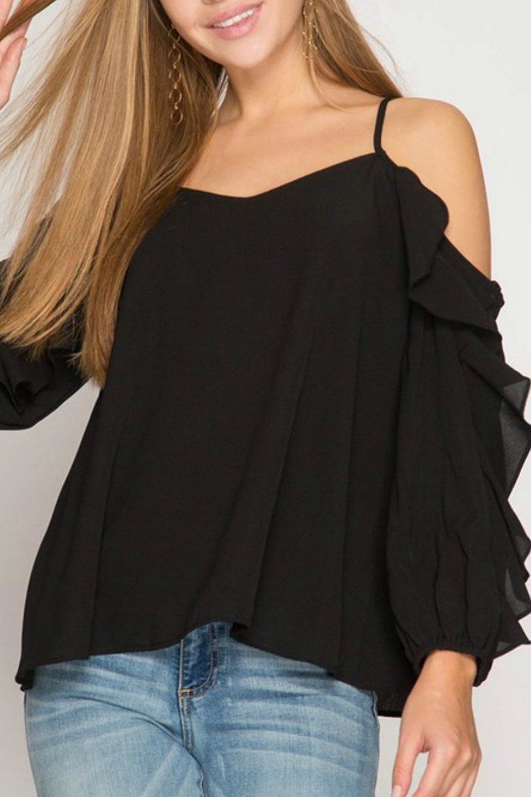 She + Sky Ruffle-Sleeve Strappy Top - Front Cropped Image