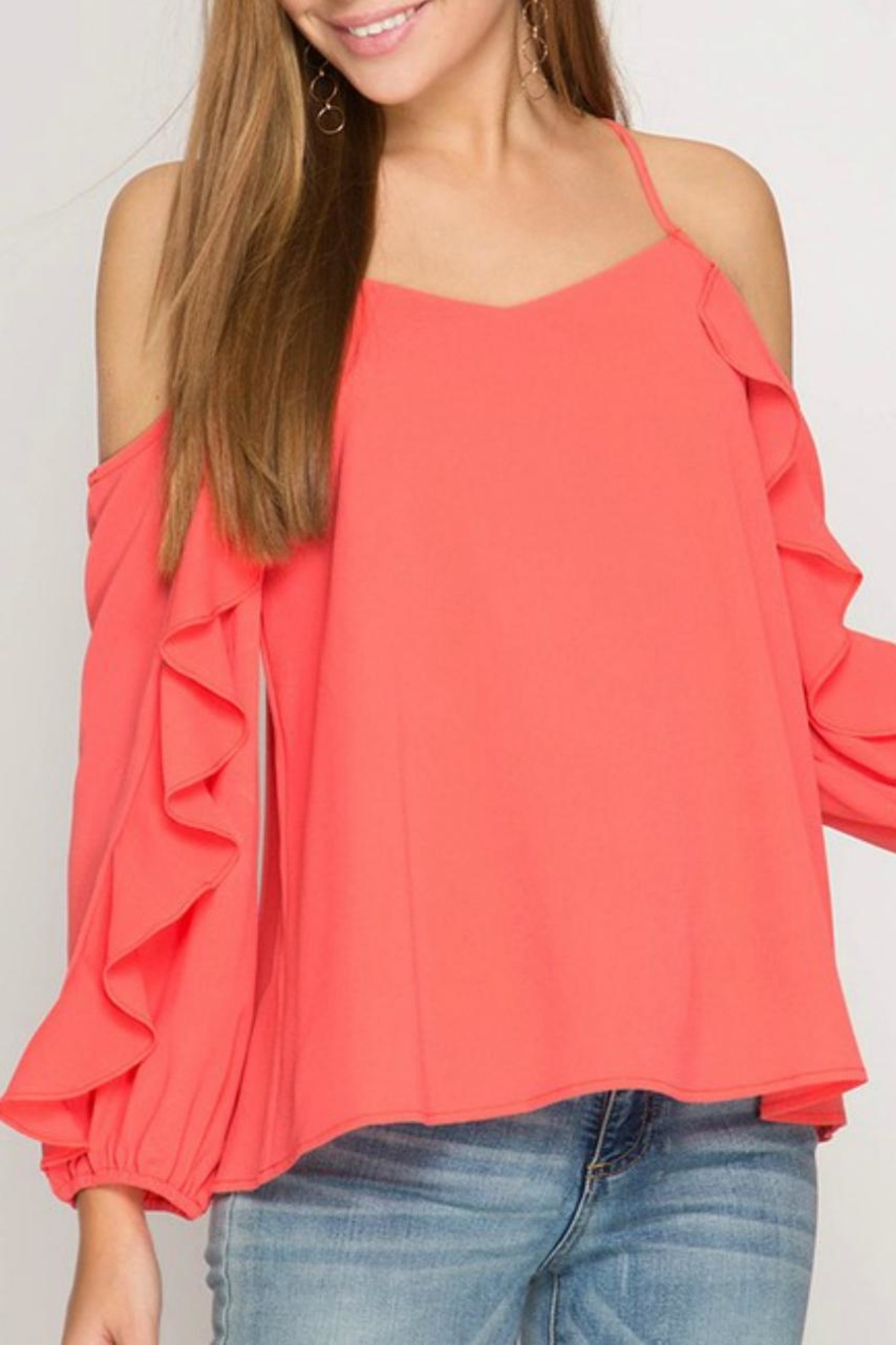 She + Sky Ruffle-Sleeve Strappy Top - Side Cropped Image