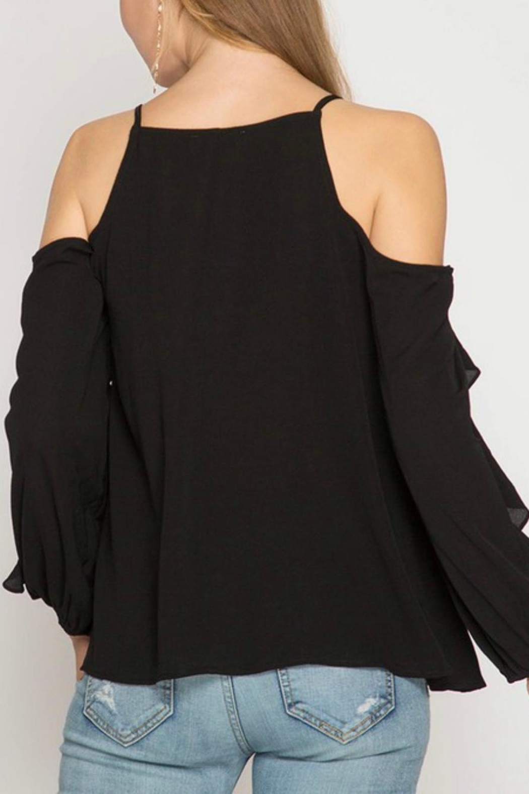 She + Sky Ruffle-Sleeve Strappy Top - Front Full Image