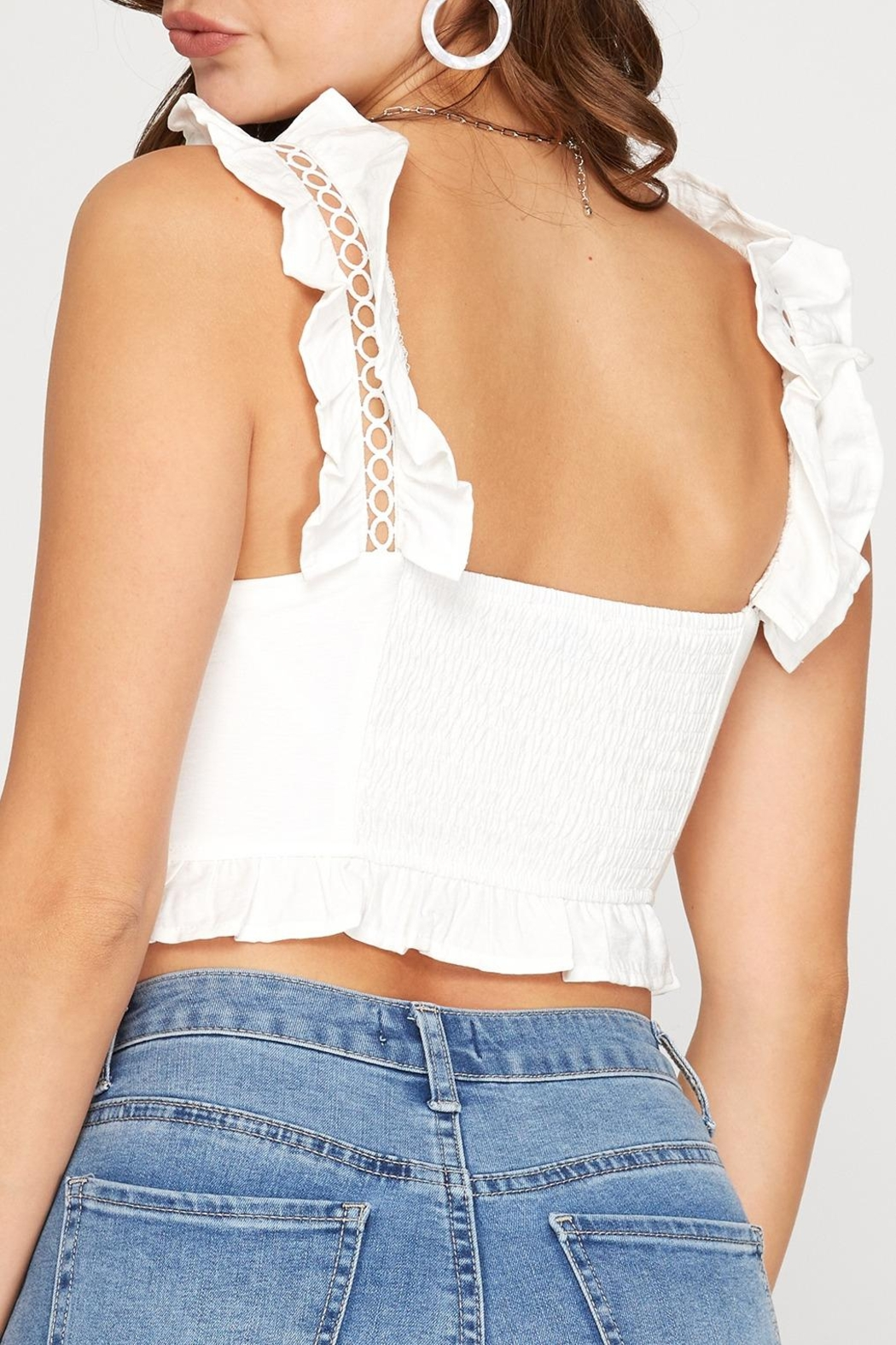 She + Sky Ruffle Strap Crop Top - Side Cropped Image