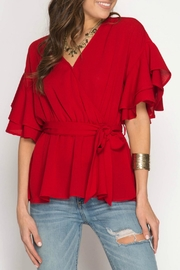 She + Sky Ruffle Wrap Top - Product Mini Image