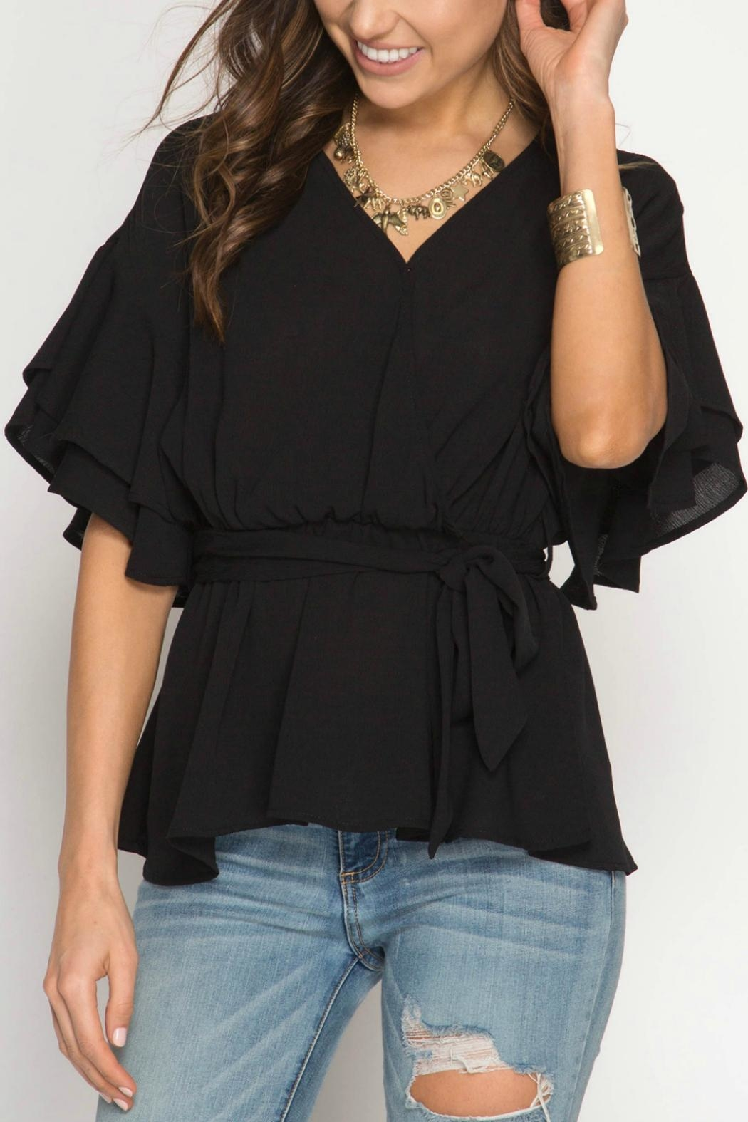 e1f8bbd2c14151 She + Sky Ruffle Wrap Top from Cincinnati by Trend — Shoptiques
