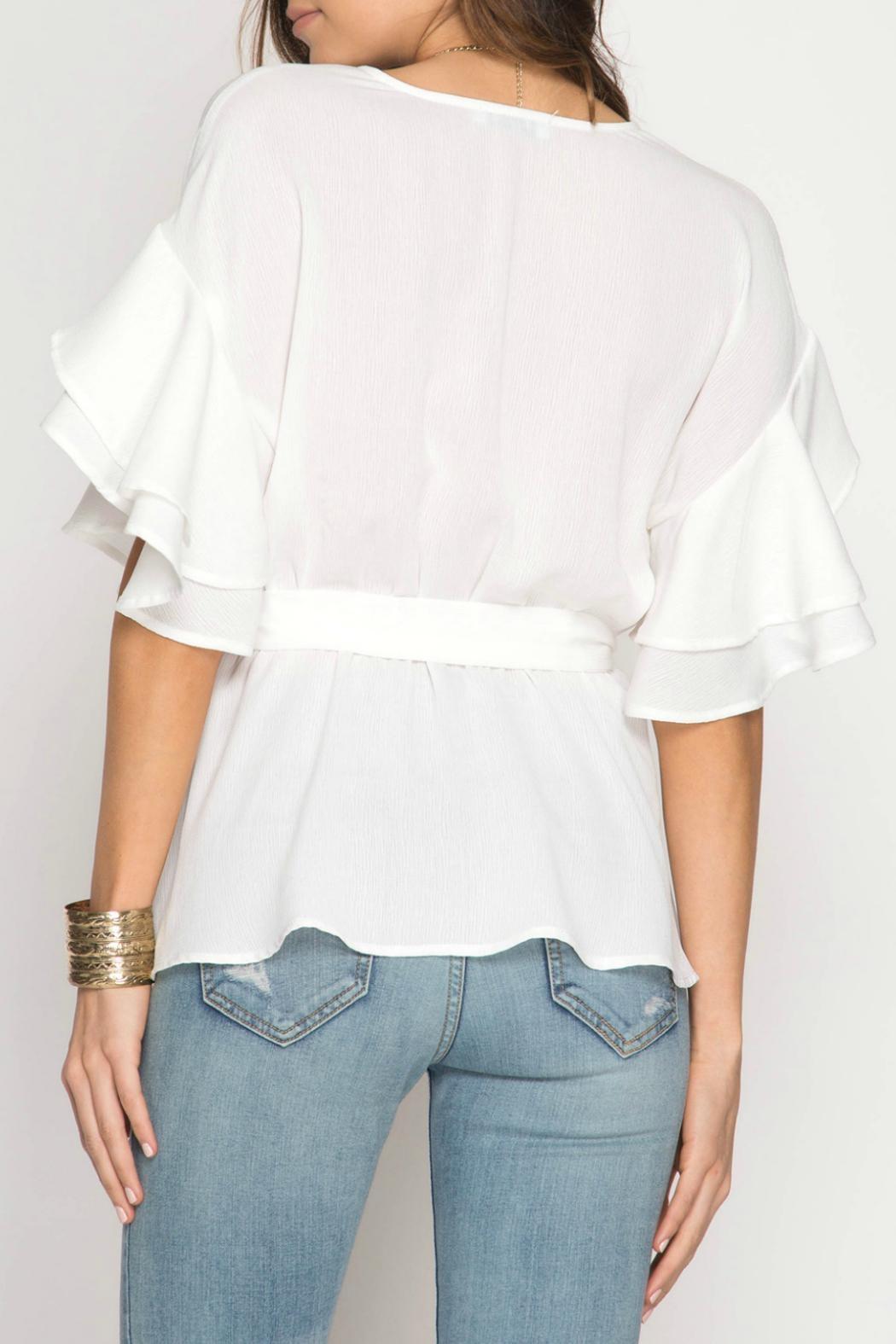 She + Sky Ruffle Wrap Top - Front Full Image