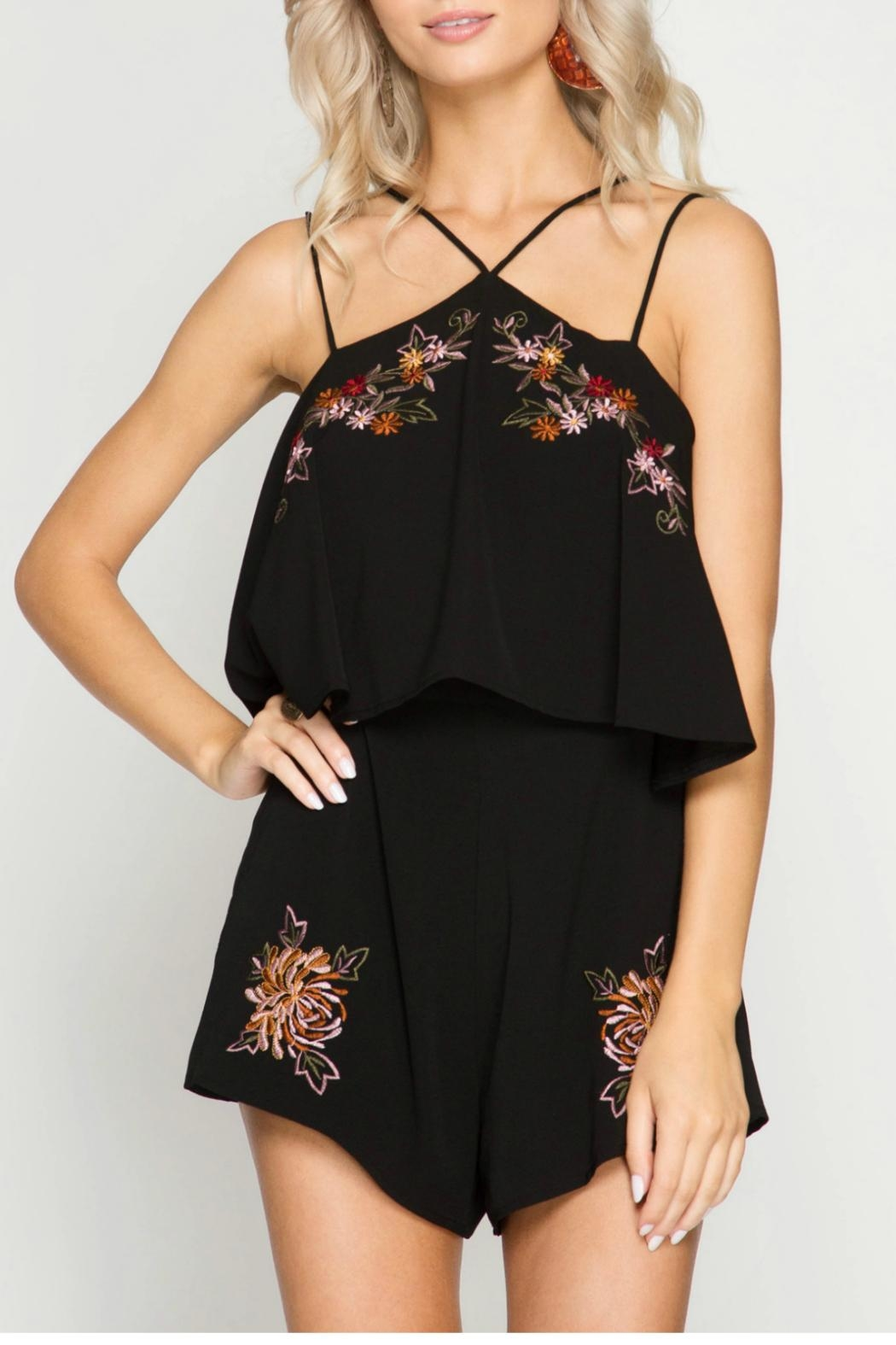 She + Sky Ruffled Embroidered Romper - Main Image