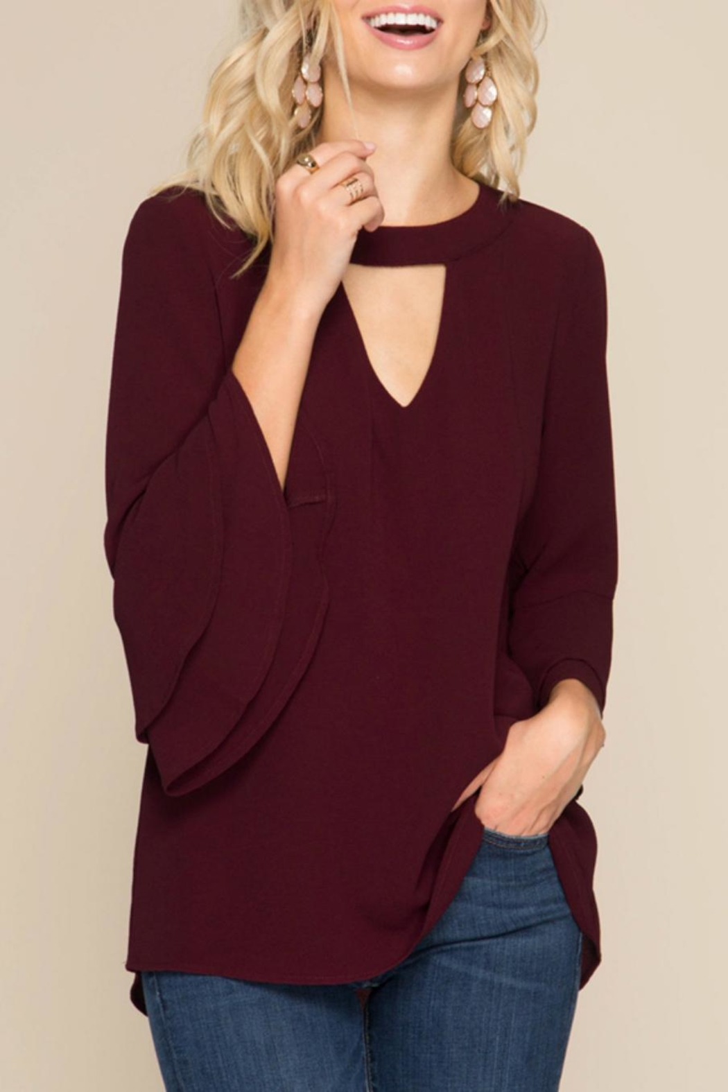 She + Sky Ruffled Sleeve Blouse - Front Cropped Image