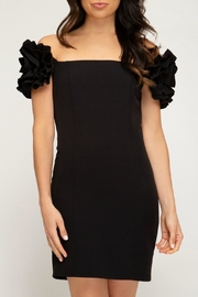 She + Sky Ruffled-Sleeve Tube Dress - Front cropped