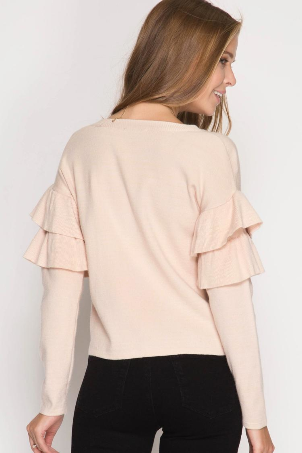 She + Sky Ruffled Sweater Top - Front Full Image