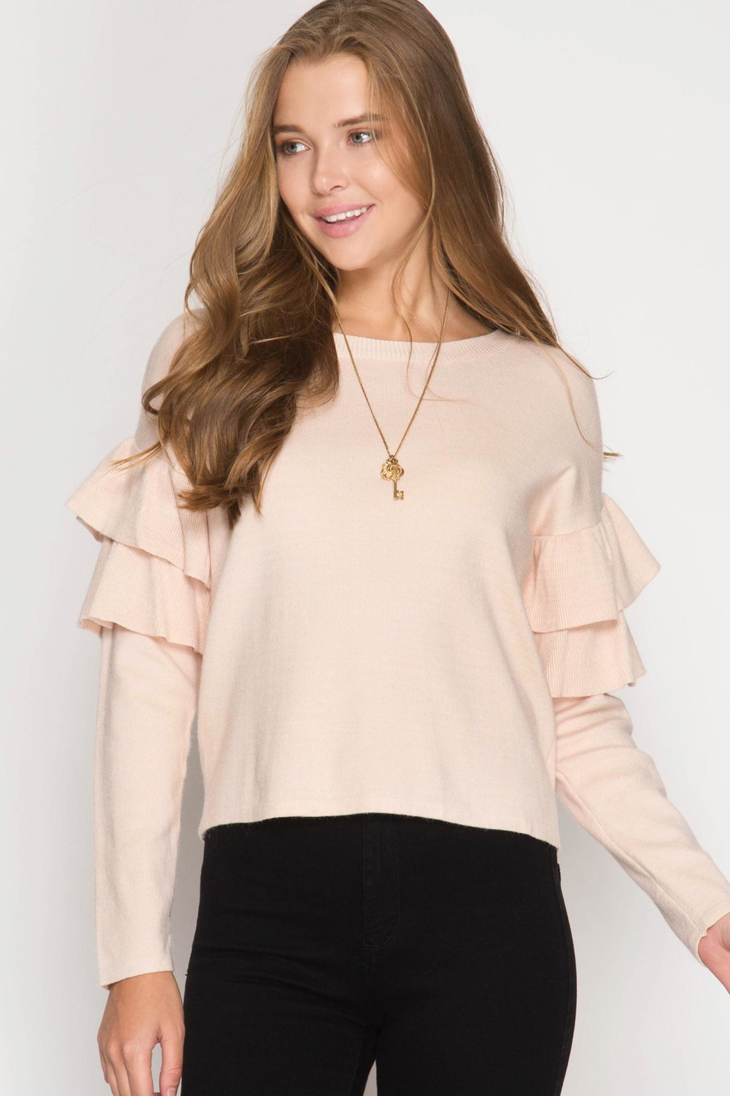 She + Sky Ruffled Sweater Top - Main Image