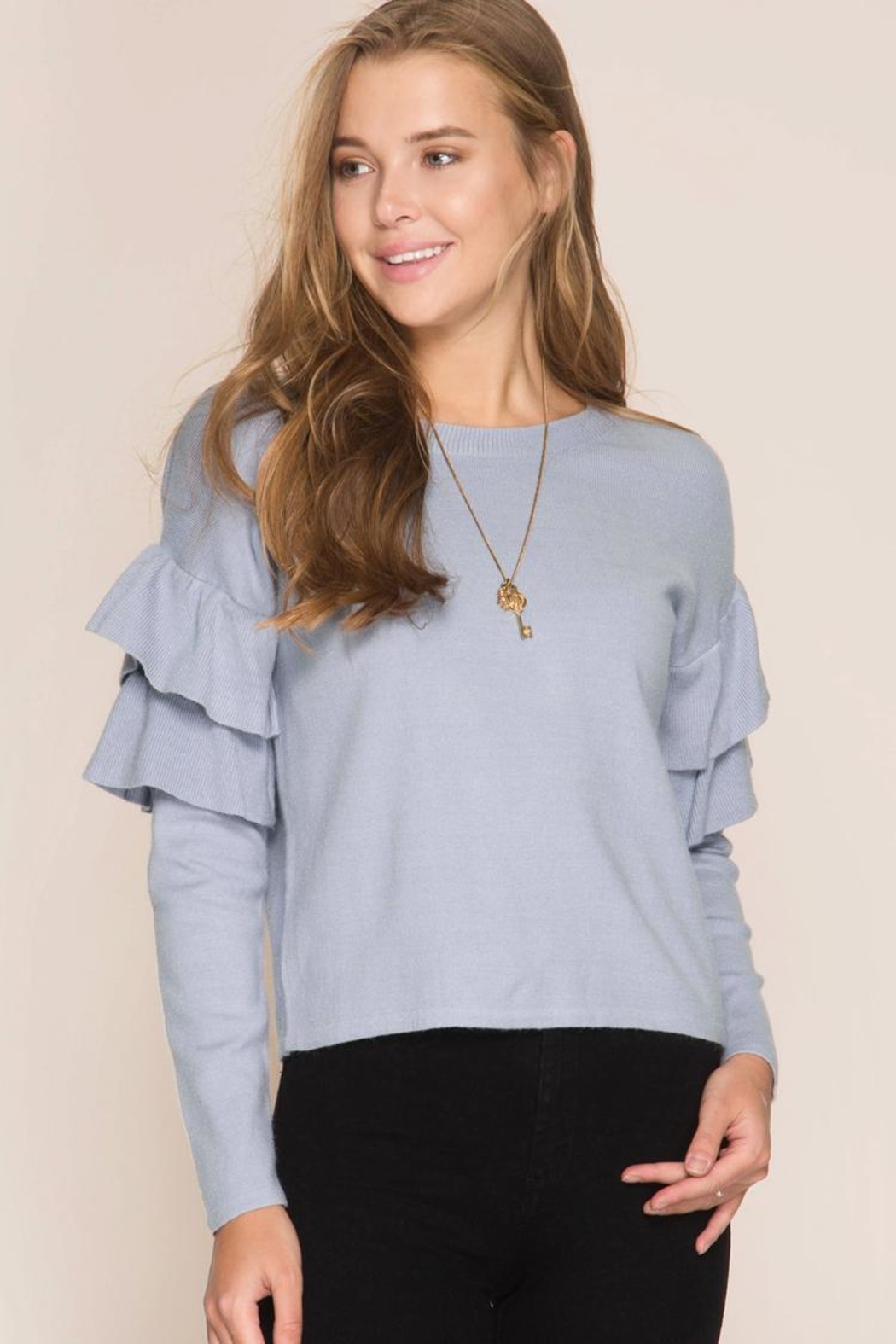 She + Sky Ruffled Sweater Top - Front Cropped Image