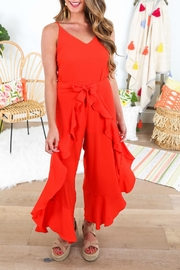 She + Sky Ruffled Wrap Jumpsuit - Front cropped