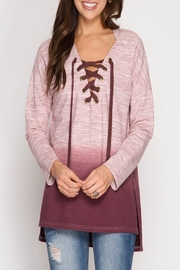 She + Sky Rylie Hoodie Burgundy - Front full body