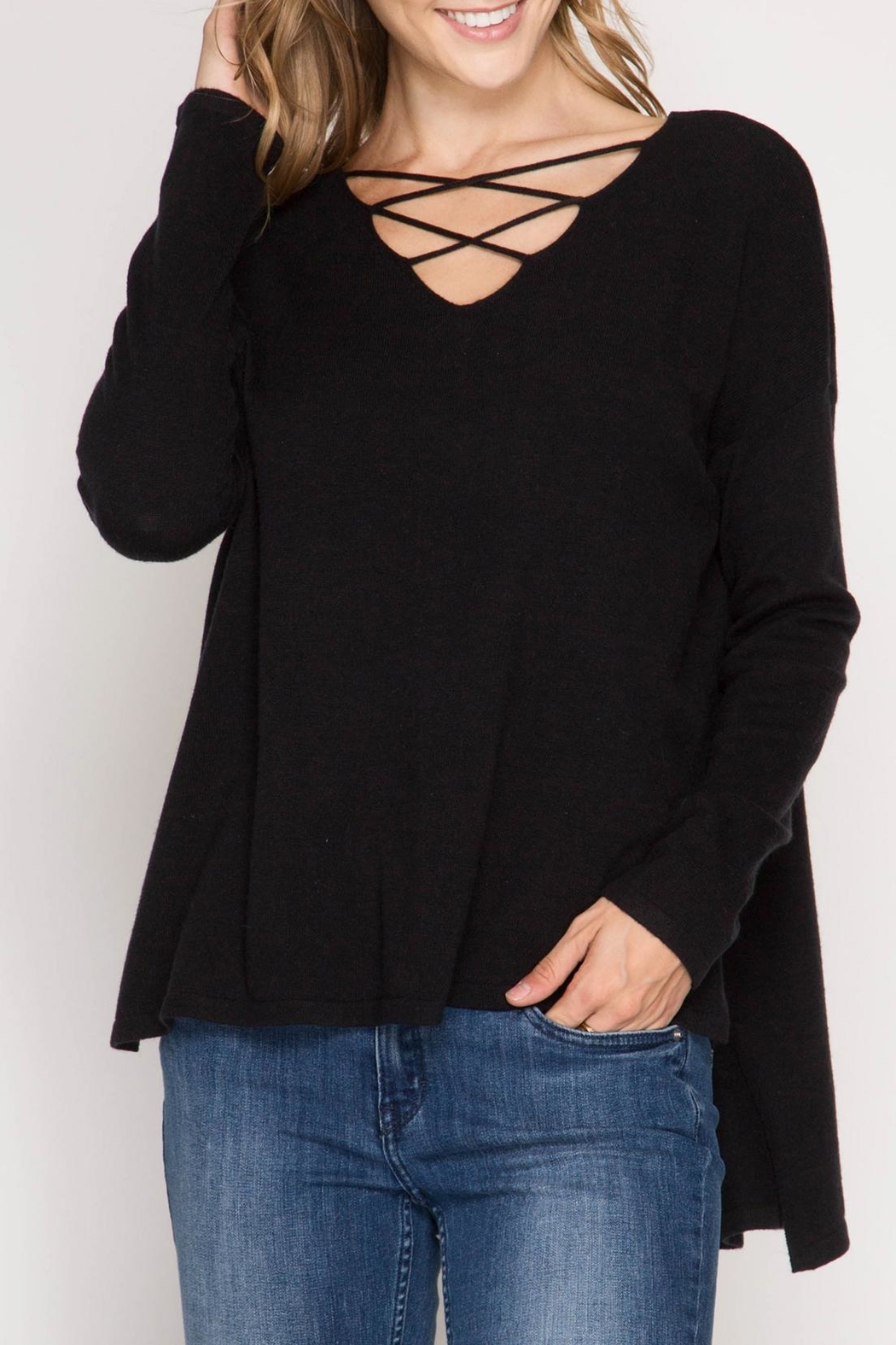 She + Sky Samantha Sweater - Front Cropped Image