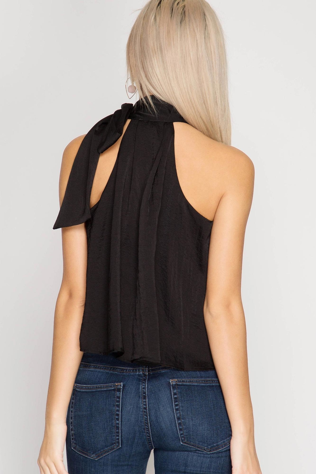 She + Sky Satin High Neck Top - Front Full Image