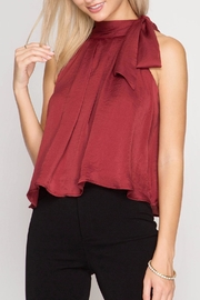 She + Sky Satin High Neck Top - Front full body