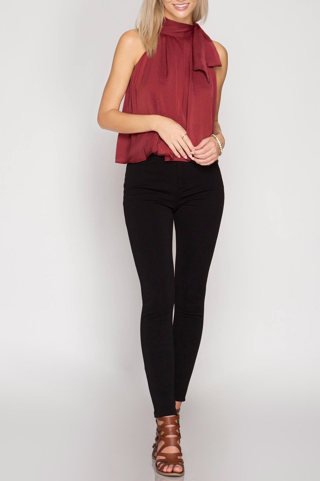 She + Sky Satin High Neck Top - Front Cropped Image