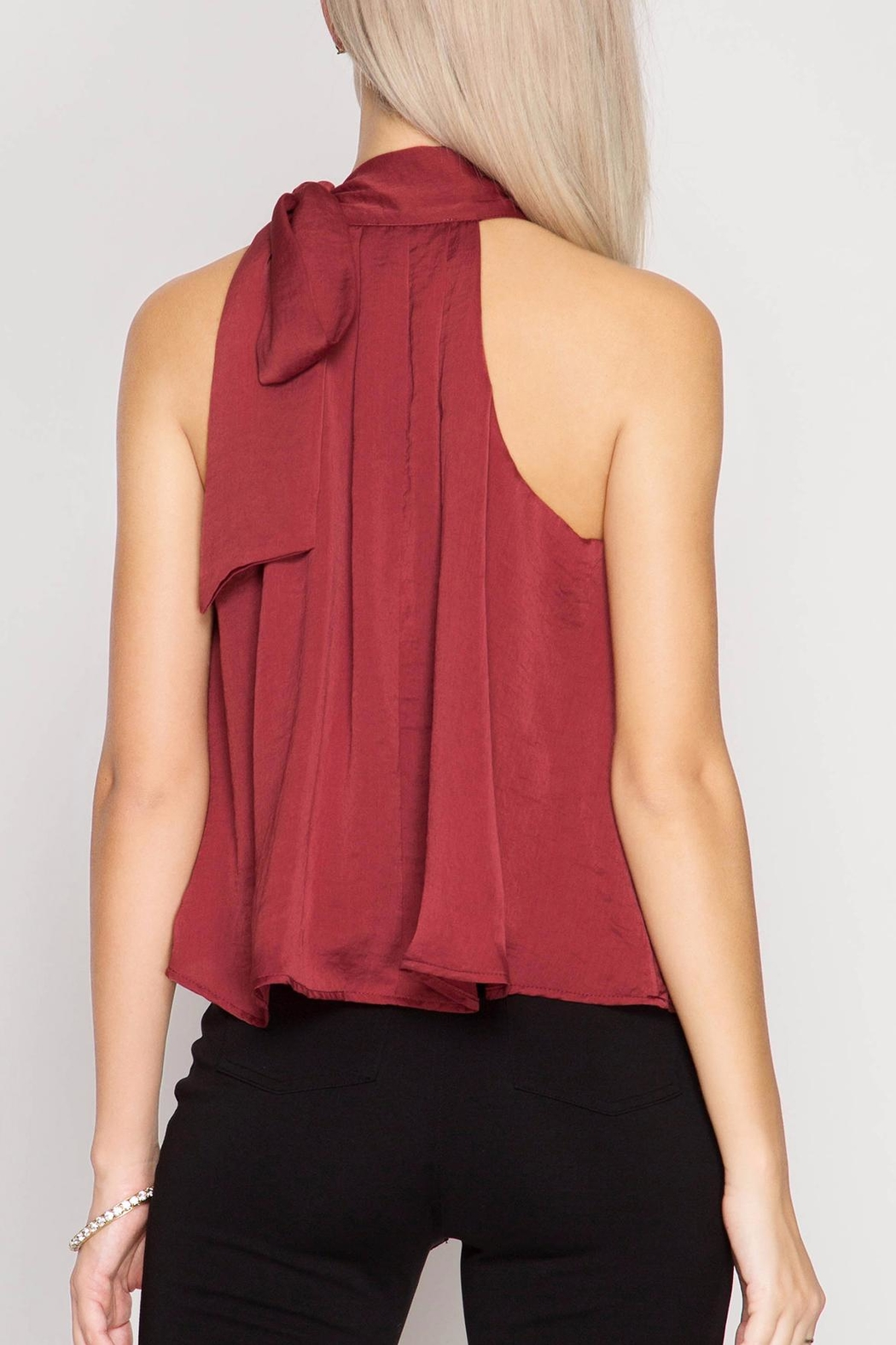 She + Sky Satin High Neck Top - Side Cropped Image