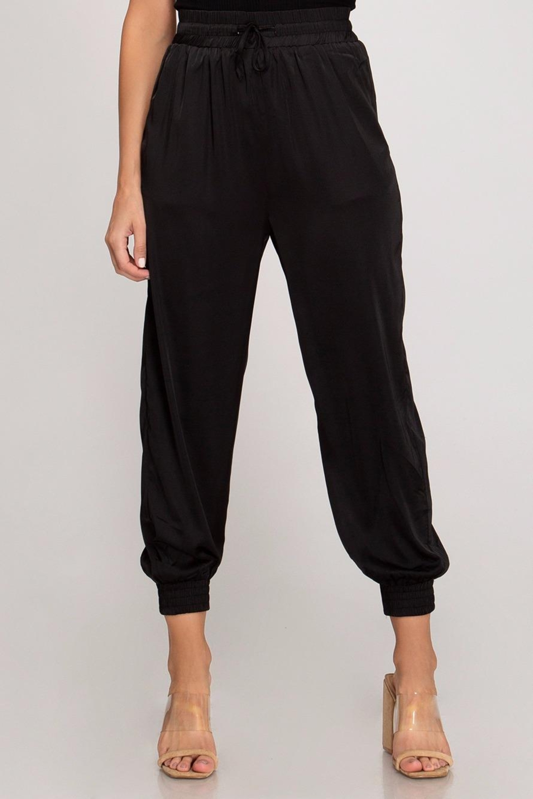 She + Sky Satin Jogger Pants - Front Cropped Image