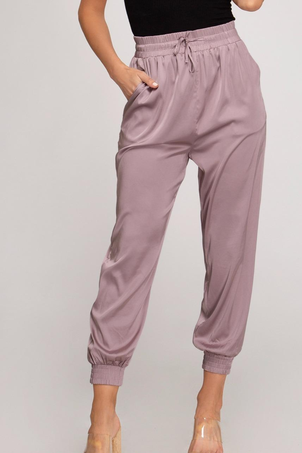 She + Sky Satin Jogger Pants - Main Image