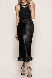 She + Sky Satin Pleated Skirt - Front cropped