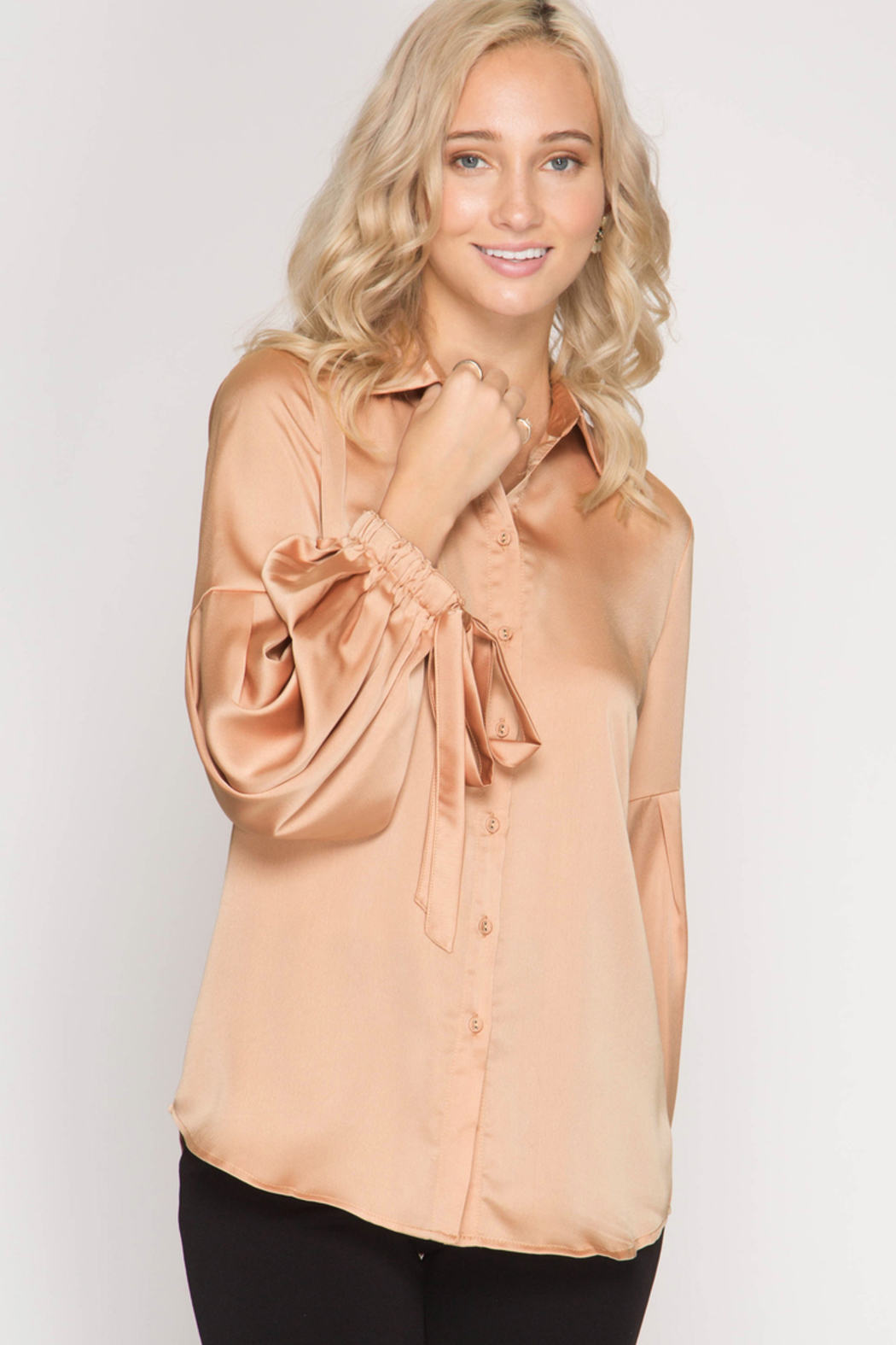 She + Sky Satin Tie Blouse - Main Image