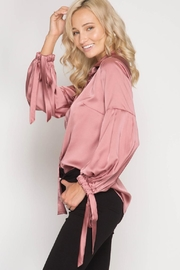 She + Sky Satin Tie Blouse - Front full body
