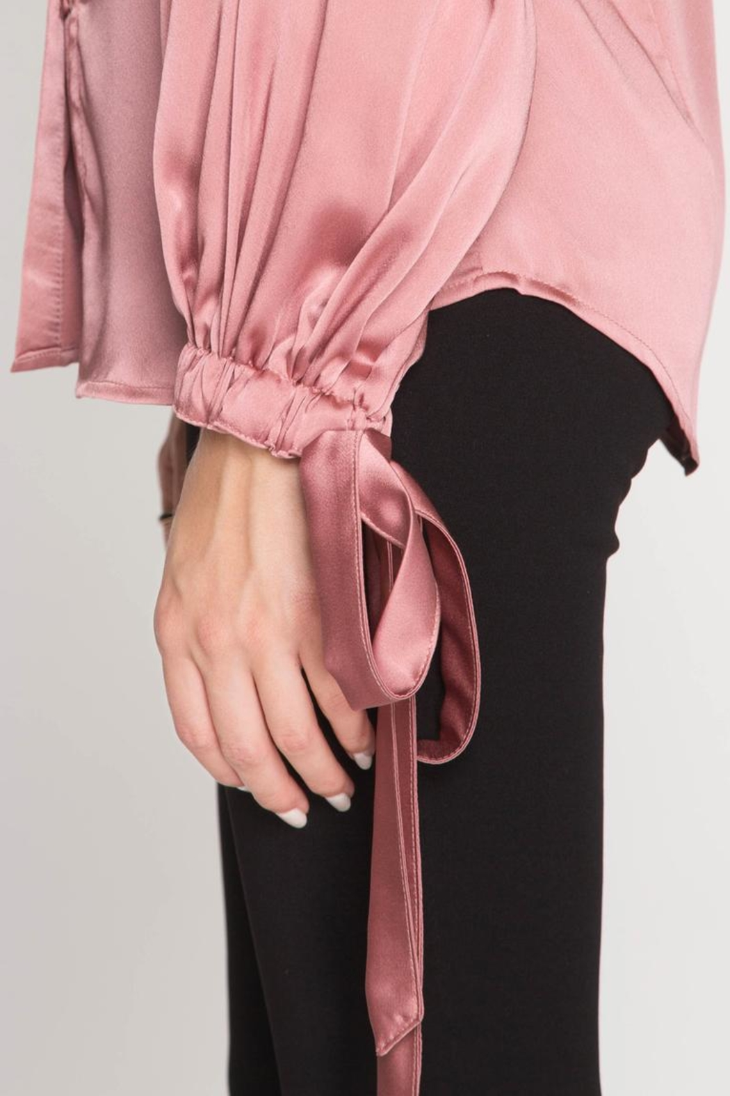 She + Sky Satin Tie Blouse - Side Cropped Image