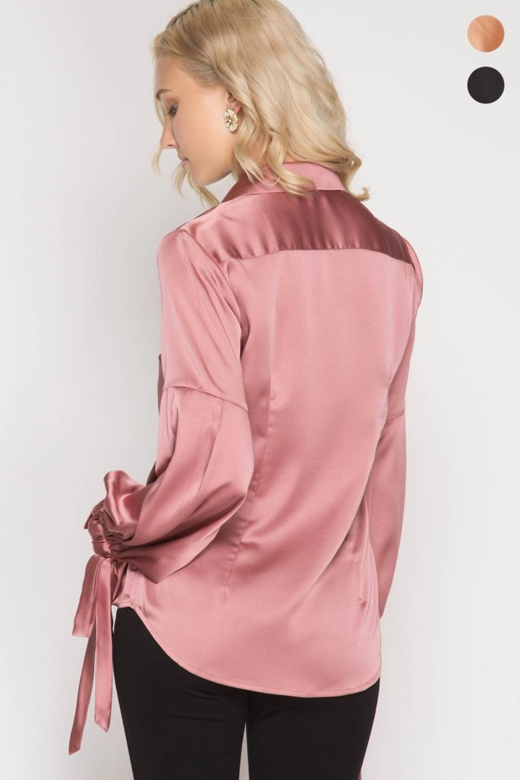 She + Sky Satin Tie Blouse - Back Cropped Image
