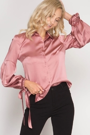 She + Sky Satin Tie Blouse - Front cropped