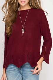 She + Sky Scallop Bottom Sweater - Product Mini Image