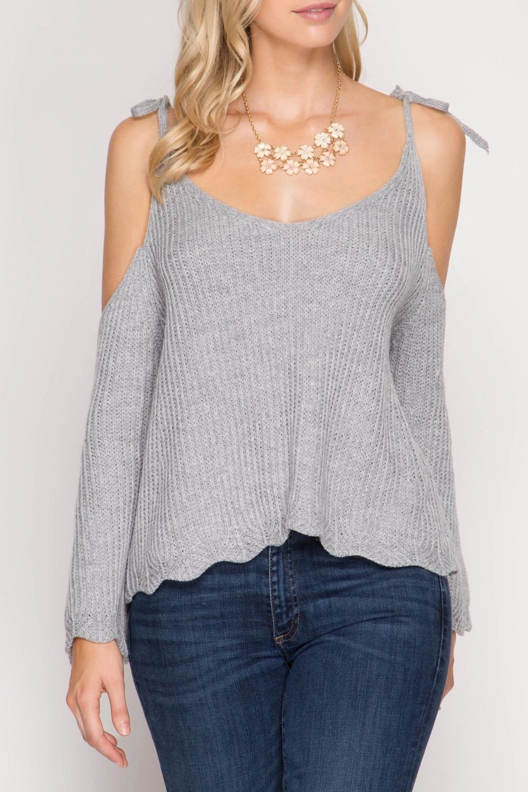 She + Sky Scallop Detail Sweater - Front Cropped Image